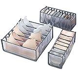 Underwear Socks Bra Storage Organizer for Dresser Drawers, Drawer Tidy Divider Lattice Mesh Fabric Boxes 3PCS