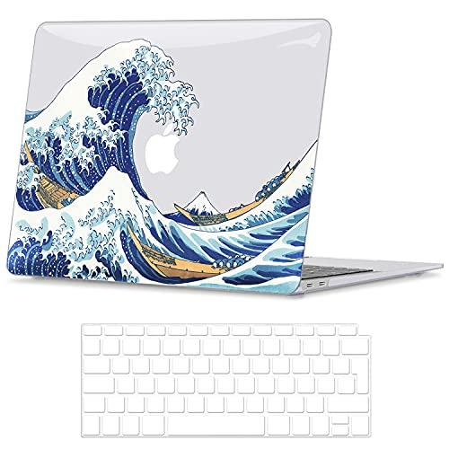 Belk Custodia Compatibile con MacBook Air 13 Pollici 2020 2019 2018 con Retina Display & Touch ID A2337 M1 A2179 A1932, Motivo Plastica Rigida Cover Protettiva con Copertura della Tastiera, Onda