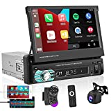Car Stereo with Apple Carplay Android Auto 7 Inch Foldable HD Touchscreen Radio Supports FM Bluetooth Android/iOS Mirror Link SWC,Single Din Car Audio with AHD Backup Camera/USB/TF Card Port/AUX-in