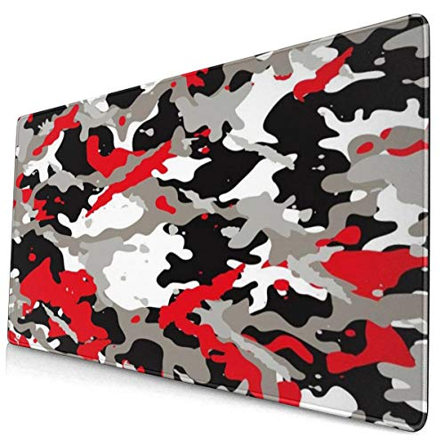 Red and Black Camouflage Design Pattern XXL XL Large Gaming Mouse Pad Mat Long Extended Mousepad Desk Pad Non-Slip Rubber Mice Pads Stitched Edges (29.5x15.7x0.12 Inch)