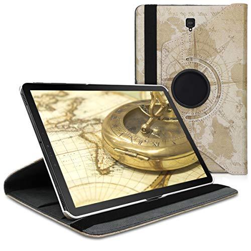 kwmobile Cover Compatibile con Samsung Galaxy Tab S4 10.5 - Custodia Cover per Tablet Rotazione 360° Stand Similpelle - Mappamondo Vintage Marrone/Marrone Chiaro