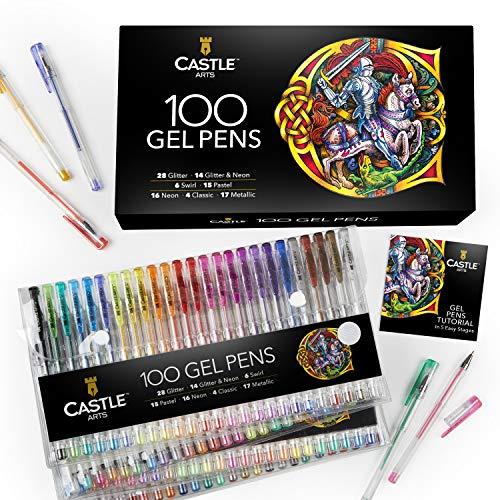 Castle Art Supplies 100 bolígrafos de gel con estuche, para niños y adultos. Libros para colorear, dibujo, scrapbooking, escritura. Kit de puntas finas con remolino, pastel, metálico, brillo y neón.
