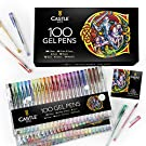 Castle Art Supplies 100 Gel Pen Set with Case for Adult Coloring Books, Drawing, Scrapbooking, Writing - Kit Includes Swirl, Pastel, Metallic, Glitter and Neon Smooth Fine Tip Gels