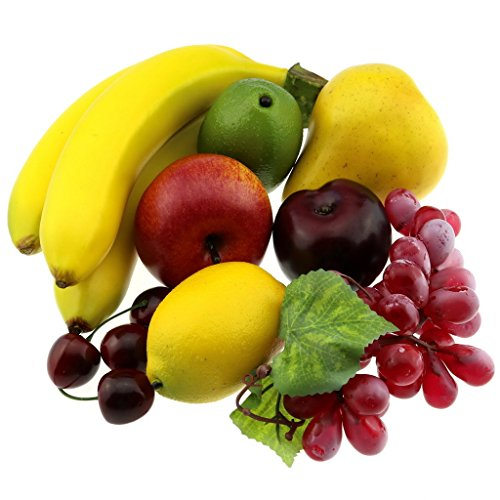 Gresorth Artificial Lifelike Apple Brin Banana Grape Lemon Pear Fake Fruit Toy Home Christmas Party Decoration - 8 Fruits