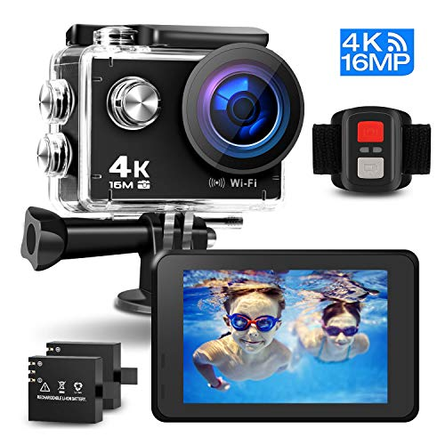 Sport Action Camera, PryMax WiFi Underwater Waterproof Camera 16MP 170°Adjustable Wide Angle Lens with 2 Rechargeable Batteries and Multiple Accessories Kits