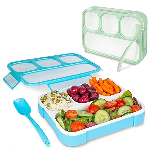 TOUARETAILS Leakproof 4 Compartment Plastic Kids Childrens Lunch Box with Removable Divided Container for Girls, Boys and Kids School, Office Lunch Box with Spoon- Multi color(Pack of 1)