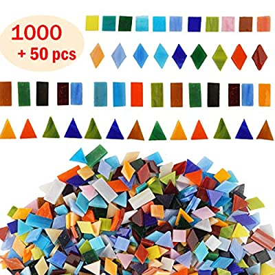 Lanyani 800 Pieces Mosaic Tiles Stained Glass - Assorted Colors for Art Craft and Home Decorations - 500g/1.1lb ?