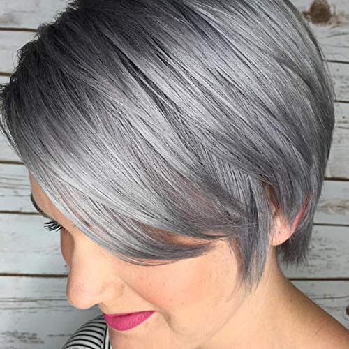 Queentas Gray Short Wigs Layered Shaggy Ombre Natural Black Roots Full Synthetic Hair Wigs for White Women(Smoky Gray)