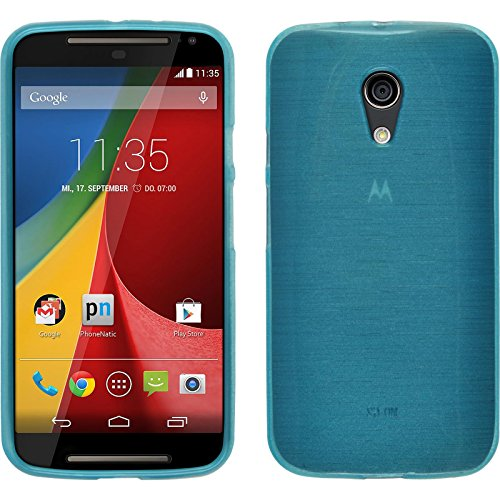 PhoneNatic Case kompatibel mit Motorola Moto G 2014 2. Generation - blau Silikon Hülle Brushed + 2 Schutzfolien