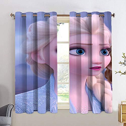 Cortinas opacas con ojales Frozen Princess Anna impermeable para habitaciones infantiles, tratamiento de ventanas para sala de estar, 42 x 63 cm
