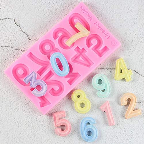 UNIYA 3D número 0-9Herramientas de decoración de Pasteles de Fiesta de Chocolate de SiliconaDigitalDIY Molde de Silicona para Hornear Fondant