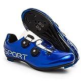 Calzado De Ciclismo para Hombre Calzado De Bicicleta De Carretera Tabla Antideslizante Transpirable Fácil De Limpiar Compatible con Zapatillas De Ciclismo De Interior SPD (41,Azul)