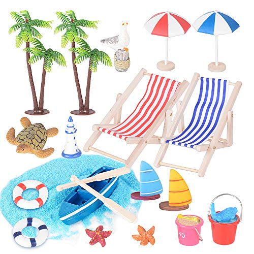 JNCH 20 Stück Miniatur Dekoration Mini Liegestuhl Deko Strand Mikrolandschaft Palme Sonnenschirm Boot Blauer Sand Schwimmring Leuchtturm Miniatur Ornament Set