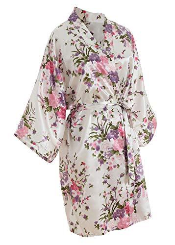 YAOMEI Novia Mujer Vestido Kimono Satén, Camisón para Mujer, Sedoso Flores de Cerezo Robe Albornoz Dama de Honor Ropa de Dormir Pijama, S-2XL (Busto: 126cm, Fit S-2XL, Blanco Bride)