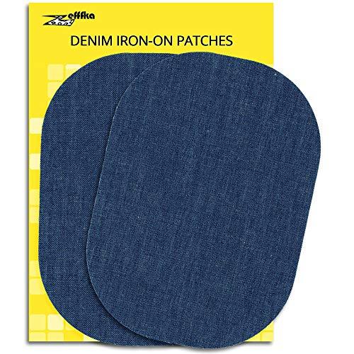 "ZEFFFKA Denim Iron On Jean Patches No-Sew Medium Bright Blue 2 Pieces Elbow Knee Cotton Jeans Repair Kit 5"" by 7"""