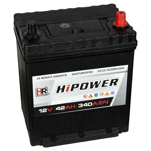 HR HiPower Autobatterie 12V 42Ah mit Bodenleiste ASIA Japan Starterbatterie ersetzt 35Ah 40Ah 45Ah