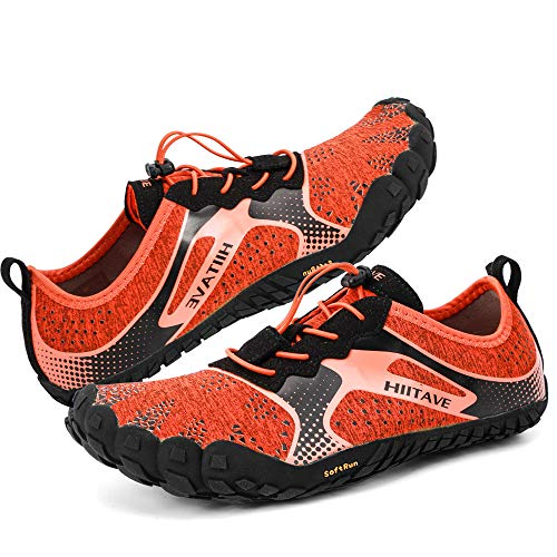 hiitave Womens Trail Running Barefoot Shoes Lightweight Gym Athletic Walking Shoes for Outdoor Sports Cross Trainer Dark Gray/Fushia US 10/10.5 Women, US 9 Men