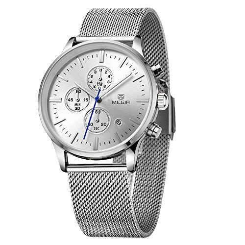 Megir - Cronografo militare, orologio da polso, da uomo, colore: bianco, colore cinturino: argento, in acciaio inossidabile, al quarzo