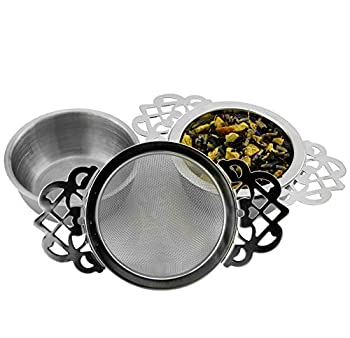 Solstice Empress Tea Strainers with Drip Bowls  2-Pack   Elegant Stainless Steel Loose Leaf Tea Strainers