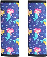 2 Pack Seat Belt Covers for Kids, LOVAC Soft Comfort Seat Belt Cushion for Children, Cute Cartoon Pattern Car Seat Belt Pads Cover for Girls and Boys (Mermaid)