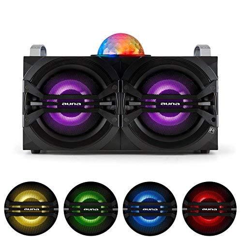 "auna DisGo Box - mobiler Dj-Lautsprecher, Stereo Party Soundsystem, LED-Licht, Class-D Verstärker, Bluetooth, USB-Port, 50 W RMS, 2 x 6,5\""-Tieftöner, 1\""-Hochtöner, schwarz"