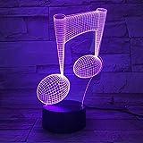 Yujzpl - Lámpara de luz LED de noche 3D, 7 colores, interruptor táctil intermitente, iluminación de decoración para el dormitorio, regalo de Navidad para niños [Clase energética A+++]-Nota musical