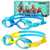 OMERIL Swimming Goggles,(2 Pack) Kids Swimming Goggles With Anti Fog Lens & Wide View,Flexible Nose Bridge,Soft Silicone Swim Goggles with Portable Bag for 3-14 Years Old Girls Boys Children