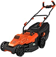 Black+Decker 1600W 38cm Lawn Mower with Bike Handle for Lawn & Garden, Orange/Black - BEMW471BH-GB, 2 Years Warranty