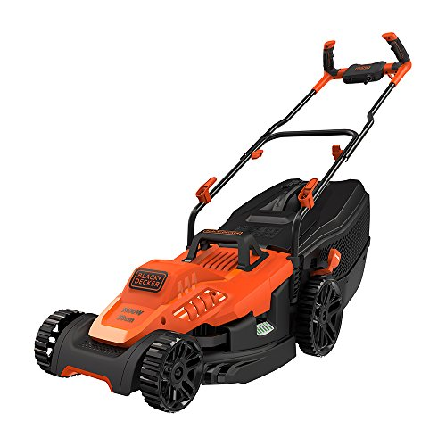 Black+Decker Electric 1600-Watt, 14 Inch Winged Blade, 45L Grassbox Capacity Lawn Mower with Bike Handle (Red and Black)