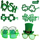 Ocean Line St. Patrick's Day Glasses - 6 Pack, Irish Shamrock Leaves Costume Sunglasses, Green Clover Evewear for Kids and Adults