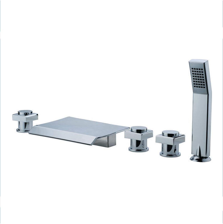 SXMXN Verbreitet Wasserfall Badewanne Wasserhahn Deck Montiert Badewanne Waschbecken Mixer Verbreitet Einzigen Handgriff Mit Handbrause Badewanne Kran Tap G1   2 (3 Kg),Chrome