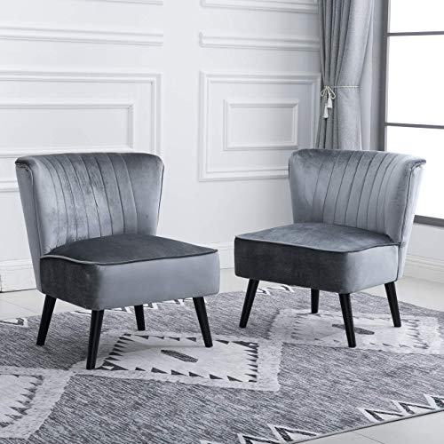 2 Accent Living Room Comfy Tub Chairs Armless Recliner Leisure Chairs Bedroom Occasional High Back Beside Sofa Chair with Velvet Upholstered Padded Black Wood Leg (Silver Grey, Set of 2 chairs)