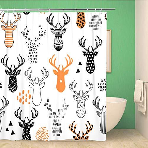 Awowee Decor Duschvorhang mit orangefarbenem Tier-Hirsch-Winter-Muster, Weihnachts-Silhouette, 180 x 180 cm, Polyester, wasserdicht, Badvorhang-Set mit Haken für das Badezimmer