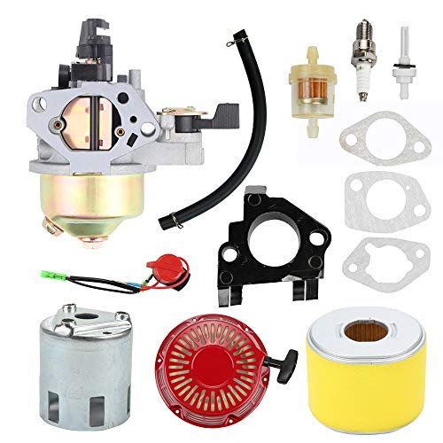 Highmoor GX390 Carburetor + Recoil Starter Air Filter Tune Up Kit for Honda GX340 GX 340 GX 390 13 HP 11HP Engine 4-Stroke Engine Lawn Mower Tiller Cultivator Replace 16100-ZF6-V01