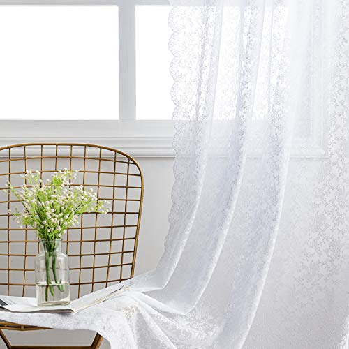 FINECITY Floral Lace Curtains for Living Room - Vintage White Lace Curtains 96 Inches Long for Bedroom/French Door, Lightweight Sheer Lace Window Curtain Panel Set of 2, 52 x 96 Inch, White