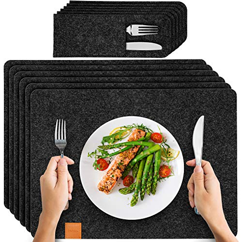 Filution Platzset anthrazit - 6x Tischset abwaschbar aus beschichteten Filz 44x32cm Filzuntersetzer - abwaschbare Tischuntersetzer - 6x Bestecktaschen