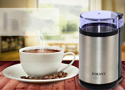 NANXCYR Elektrische koffiemolen, multifunctioneel, kruidenmolen met roestvrij stalen mes, veiligheidsschakelaar, capaciteit 76 g