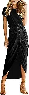 AUSELILY Women's Short Sleeve Summer Dresses Elastic Waist Slit Casual Long Maxi Dress with Belt (12/14, Black)