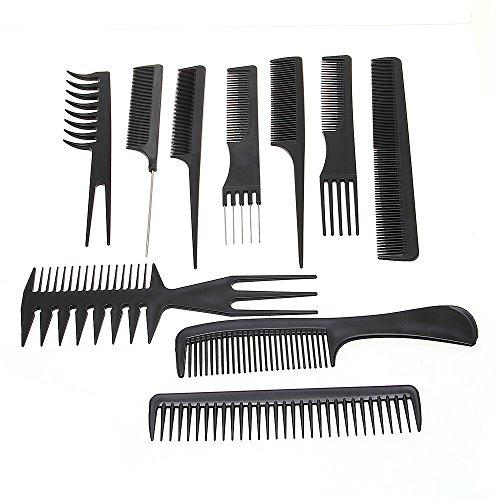 Foxpic Pro 10PCS antistatico pettine set salone parrucchiere Barber styling Tool nero