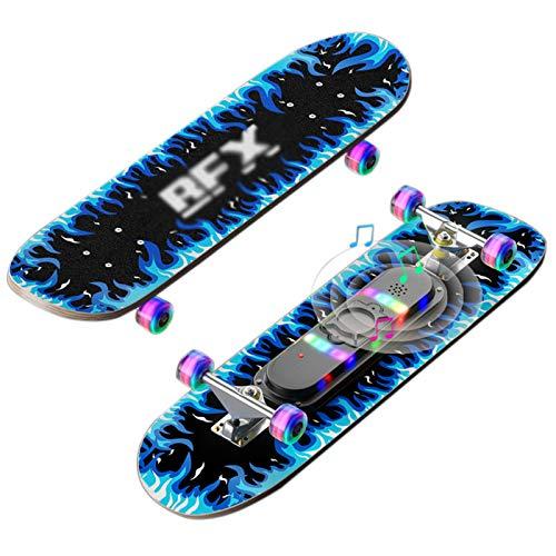 OLAC Patineta Flash Wheel De 28'x 7' Music Glow Tabla De Skate Profesional Completa De Madera De Arce De Doble Patada para Niños Y Principiantes