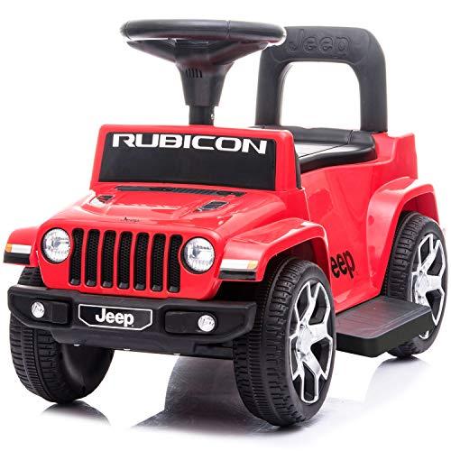 電動カー 電動乗用玩具 JEEP WRANGLER RUBICON ジープ ラングラー ルビコン 電動ミニ 足けり乗用 電動カー 押し車 子供が乗れる 乗用玩具 JEEP (レッド)