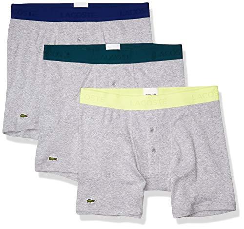 Lacoste Men's Essentials Classic 3 Pack 100% Cotton Boxer Briefs, Silver Chine/Silver Chine/Silver Chine, M