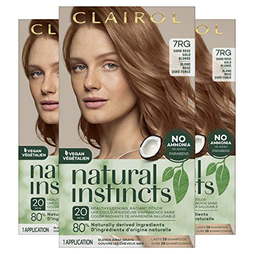Clairol Natural Instincts Semi-Permanent Hair Dye, 7RG Dark Rose Gold Blonde Hair Color, 3 Count