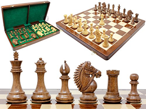 House of Chess - Rio Staunton Biggie Knight Acacia Wood 4' Chess Set - 21' Folding Chess Board with Algebraic Notation - 2 Extra Queens
