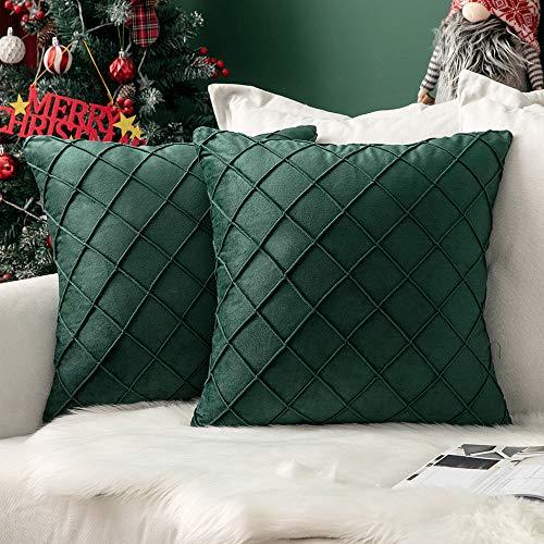 MIULEE - Funda de cojín de terciopelo para sofá, diseño de Navidad, cuadrado, suave, cuadrada, 45,7 x 45,7 cm, color verde militar, 2 fundas de cojín con cierre invisible para sofá o sala de estar