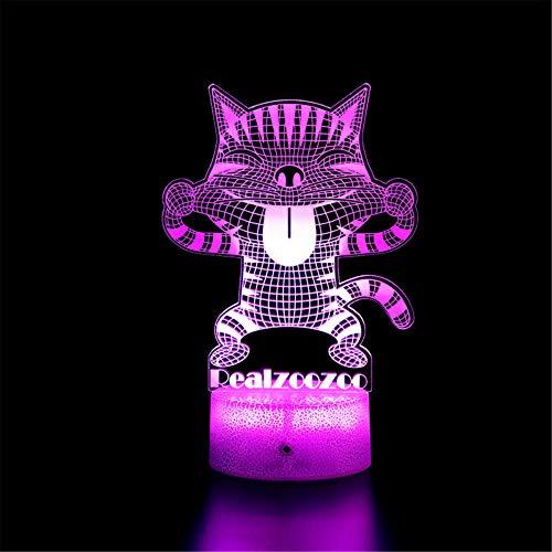 Hello Kitty D - Luz de noche 3D para niños, ilusión 3D al lado de la lámpara de mesa, 16 colores, control táctil regulable con base de grietas, mando a distancia para niños y niñas