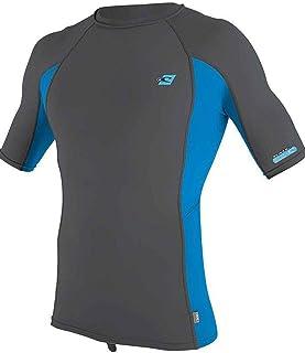 O'Neill Mens Premium Skins Short Sleeve Rash Vest Top - Smoke Brite Blue - Quick Dry UV Sun Protection and SPF Properties