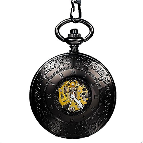 Carrie Hughes Men's Vintage Roman Word Carving Steampunk Skeleton Mechanical Pocket Watch with Chain Best Gift (CH117)