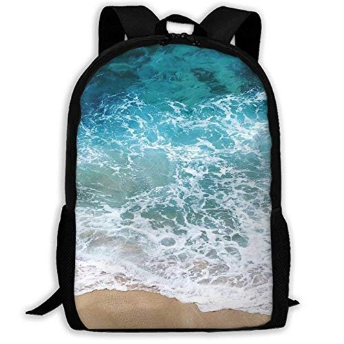 XCNGG Mochila de impresión de fotograma Completo para Adultos Mochila Informal Mochila Mochila Escolar Lightweight Durable Backpack Daypack for School Travel Hiking, Blue Sea Waves