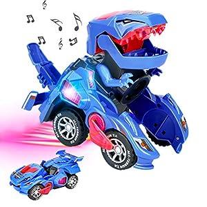 Zwini Coche de Dinosaurio Transformador luz LED Música de Dinosaurio transformante Juguetes con batería Rueda Universal Flexible Dinosaurio LED Coche Juguetes para niños